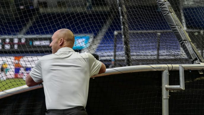 MIAMI, FL - MARCH 29: Chief Executive Officer Derek Jeter of the Miami Marlins watches batting practice prior to the game against the Colorado Rockies at Marlins Park on March 29, 2019 in Miami, Florida. (Photo by Mark Brown/Getty Images)