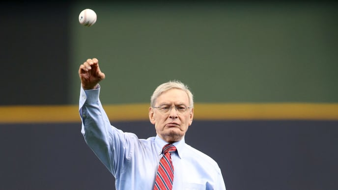 MILWAUKEE, WI - APRIL 03:  Former MLB Commissioner and owner of the Milwaukee Brewers Bud Selig throws out the ceremonial first pitch before the MLB opening day game between the Milwaukee Brewers and the Colorado Rockies at Miller Park on April 3, 2017 in Milwaukee, Wisconsin. (Photo by Dylan Buell/Getty Images)