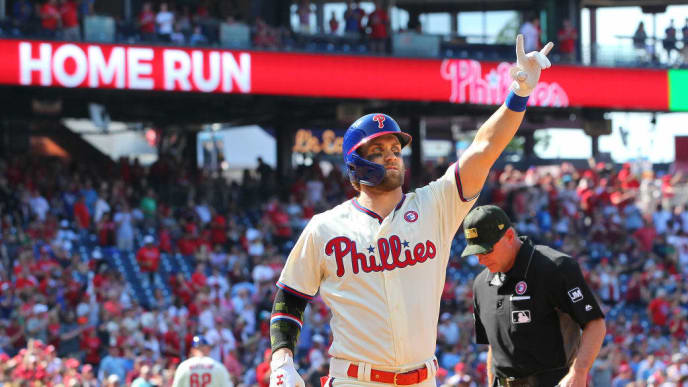PHILADELPHIA, PA - MAY 18: Bryce Harper #3 of the Philadelphia Phillies gestures after he hit a home run during the first inning of a game against the Colorado Rockies at Citizens Bank Park on May 18, 2019 in Philadelphia, Pennsylvania. (Photo by Rich Schultz/Getty Images)