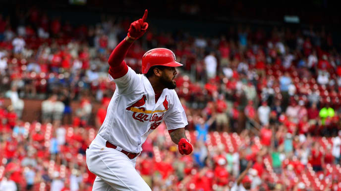 ST LOUIS, MO - AUGUST 02: Jose Martinez #38 of the St. Louis Cardinals celebrates after hitting a walk off two-run single during the ninth inning against the Colorado Rockies at Busch Stadium on August 2, 2018 in St Louis, Missouri. (Photo by Jeff Curry/Getty Images)