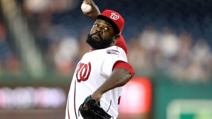 WASHINGTON, DC - JULY 25: Fernando Rodney #56 of the Washington Nationals pitches to a Colorado Rockies batter at Nationals Park on July 25, 2019 in Washington, DC. (Photo by Rob Carr/Getty Images)