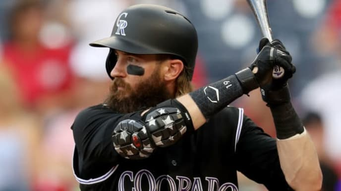 WASHINGTON, DC - JULY 25: Charlie Blackmon #19 of the Colorado Rockies bats against the Washington Nationalsat Nationals Park on July 25, 2019 in Washington, DC. (Photo by Rob Carr/Getty Images)