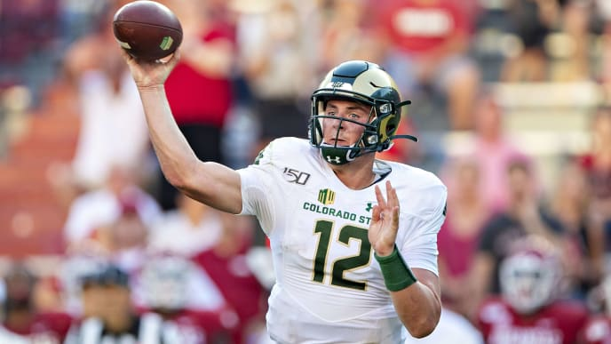 FAYETTEVILLE, AR - SEPTEMBER 14: Patrick OBrien #12 of the Colorado State Rams throws a pass during a game against the Arkansas Razorbacks at Razorback Stadium on September 14, 2019 in Fayetteville, Arkansas. The Razorbacks defeated the Rams 55-34. (Photo by Wesley Hitt/Getty Images)