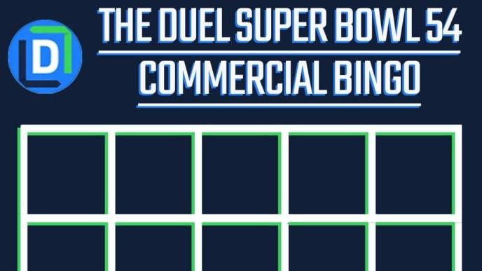 Printable Super Bowl 54 commercial bingo template.