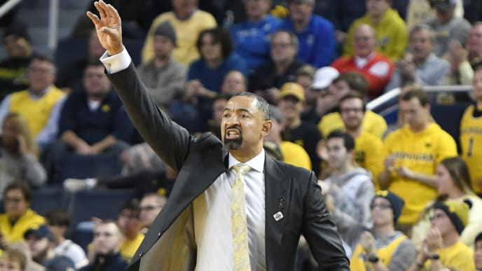 ANN ARBOR, MI - NOVEMBER 12:  Head coach Juwan Howard of the Michigan Wolverines looks on during a basketball game against the Creighton Bluejays at the Crisler Center on November 12, 2019 in Ann Arbor, Michigan.  (Photo by Mitchell Layton/Getty Images)