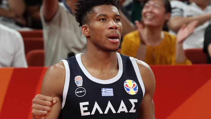 SHENZHEN, CHINA - SEPTEMBER 09:  Giannis Antetokounmpo #34 of Greece celebrates after their team's win against Czech during FIBA World Cup 2019 Group K match between Czech Republic and Greece at Shenzhen Bay Sports Centre on September 9, 2019 in Shenzhen, China.  (Photo by Lintao Zhang/Getty Images)