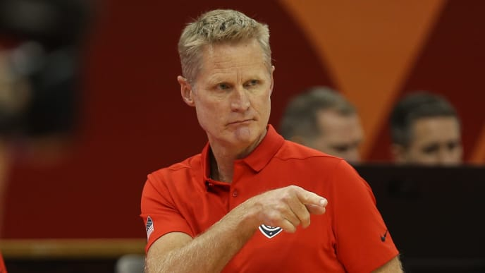 SHANGHAI, CHINA - SEPTEMBER 01: Assistant Coach Steve Kerr of team USA reacts during the 1st round match between Czech Republic and USA of 2019 FIBA World Cup at Shanghai Oriental Sports Center on September 01, 2019 in Shanghai, China. (Photo by Yifan Ding/Getty Images)