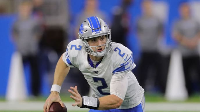 DETROIT, MI - NOVEMBER 17: Jeff Driskel #2 of the Detroit Lions rolls out during the fourth quarter of the game against the Dallas Cowboys at Ford Field on November 17, 2019 in Detroit, Michigan. Dallas defeated Detroit 35-27. (Photo by Leon Halip/Getty Images)