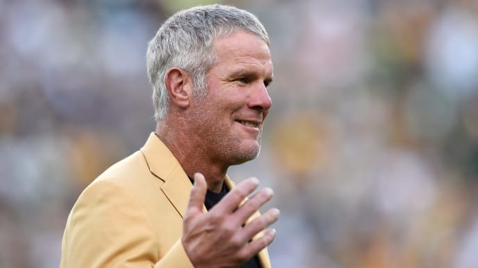 GREEN BAY, WI - OCTOBER 16:  Former NFL quarterback Brett Farve is inducted into the Ring of Honor during a halftime ceremony during the game between the Green Bay Packers and the Dallas Cowboys at Lambeau Field on October 16, 2016 in Green Bay, Wisconsin.  (Photo by Hannah Foslien/Getty Images)