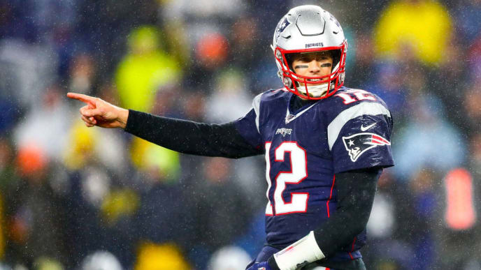 FOXBOROUGH, MA - NOVEMBER 24: Tom Brady #12 of the New England reacts during a game against the Dallas Cowboys at Gillette Stadium on November 24, 2019 in Foxborough, Massachusetts. (Photo by Adam Glanzman/Getty Images)