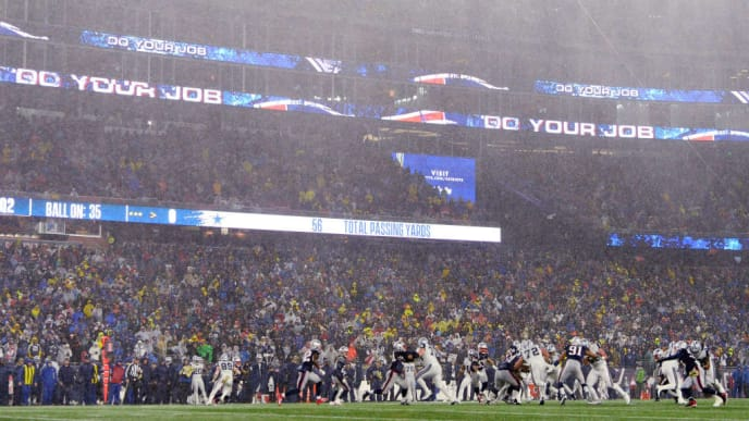 FOXBOROUGH, MASSACHUSETTS - NOVEMBER 24: A general view as rain falls during the first half in the game between the Dallas Cowboys and the New England Patriots at Gillette Stadium on November 24, 2019 in Foxborough, Massachusetts. (Photo by Kathryn Riley/Getty Images)