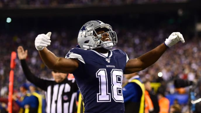 EAST RUTHERFORD, NEW JERSEY - NOVEMBER 04: Randall Cobb #18 of the Dallas Cowboys celebrates a touchdown that was overturned due to penalties in the first quarter of their game against the New York Giants at MetLife Stadium on November 04, 2019 in East Rutherford, New Jersey. (Photo by Emilee Chinn/Getty Images)