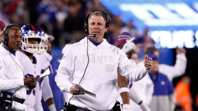 EAST RUTHERFORD, NEW JERSEY - NOVEMBER 04:  (NEW YORK DAILIES OUT)   Head coach Pat Shurmur of the New York Giants in action against the Dallas Cowboys at MetLife Stadium on November 04, 2019 in East Rutherford, New Jersey. The Cowboys defeated the Giants 37-18. (Photo by Jim McIsaac/Getty Images)