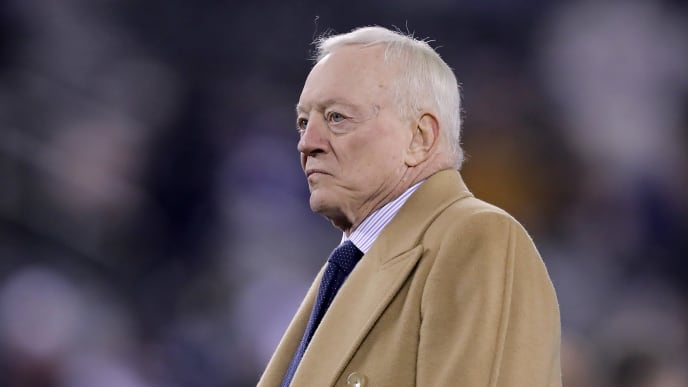 EAST RUTHERFORD, NEW JERSEY - NOVEMBER 04:  Dallas Cowboys Owner, President and General Manager Jerry Jones walks on the field before the game against the New York Giants at MetLife Stadium on November 04, 2019 in East Rutherford, New Jersey. (Photo by Elsa/Getty Images)