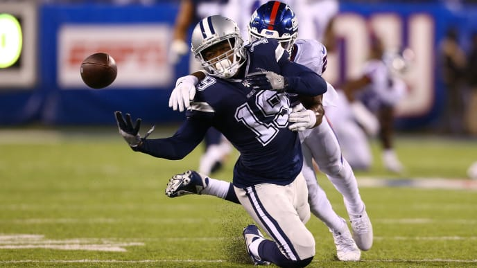 EAST RUTHERFORD, NEW JERSEY - NOVEMBER 04:  Amari Cooper #19 of the Dallas Cowboys is unable to catch a pass in front of Janoris Jenkins #20 of the New York Giants at MetLife Stadium on November 04, 2019 in East Rutherford, New Jersey.Dallas Cowboys defeated New York Giants 37-18. (Photo by Mike Stobe/Getty Images)
