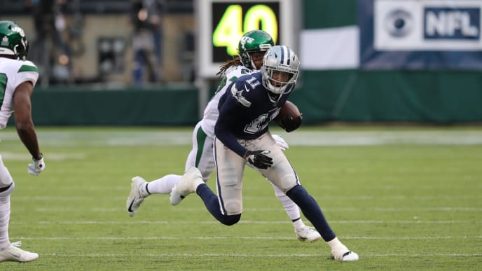 EAST RUTHERFORD, NEW JERSEY - OCTOBER 13: Wide Receiver Cedrick Wilson #11 of the Dallas Cowboys makes a catch against the New York Jets in the first half at MetLife Stadium on October 13, 2019 in East Rutherford, New Jersey. (Photo by Al Pereira/Getty Images)