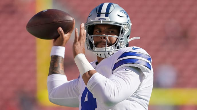 SANTA CLARA, CA - AUGUST 10:  Dak Prescott #4 of the Dallas Cowboys throws passes during pregame warm ups prior to the start of an NFL preseason football game against the San Francisco 49ers at Levi's Stadium on August 10, 2019 in Santa Clara, California.  (Photo by Thearon W. Henderson/Getty Images)