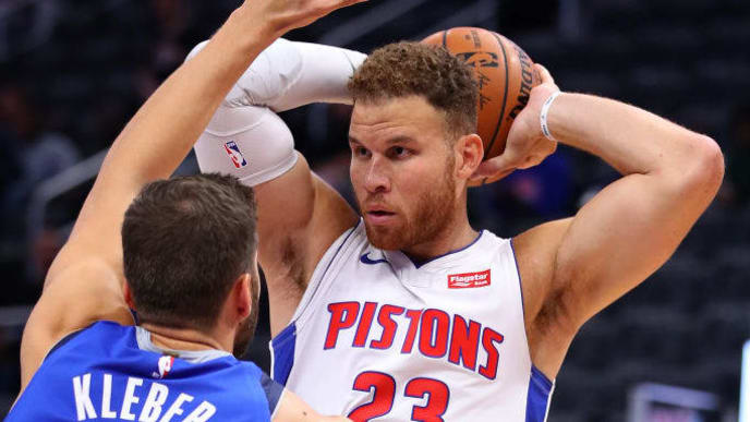 DETROIT, MICHIGAN - OCTOBER 09: Blake Griffin #23 of the Detroit Pistons looks to make a move against Maxi Kleber #42 of the Dallas Mavericks during the second half at Little Caesars Arena on October 09, 2019 in Detroit, Michigan. Detroit won the game 124-117. NOTE TO USER: User expressly acknowledges and agrees that, by downloading and/or using this photograph, user is consenting to the terms and conditions of the Getty Images License Agreement. (Photo by Gregory Shamus/Getty Images)
