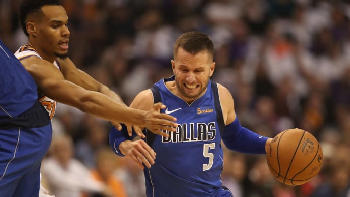 PHOENIX, AZ - OCTOBER 17:  J.J. Barea #5 of the Dallas Mavericks handles the ball during the NBA game against the Phoenix Suns at Talking Stick Resort Arena on October 17, 2018 in Phoenix, Arizona. The Suns defeated defeated the Mavericks 121-100. NOTE TO USER: User expressly acknowledges and agrees that, by downloading and or using this photograph, User is consenting to the terms and conditions of the Getty Images License Agreement.  (Photo by Christian Petersen/Getty Images)