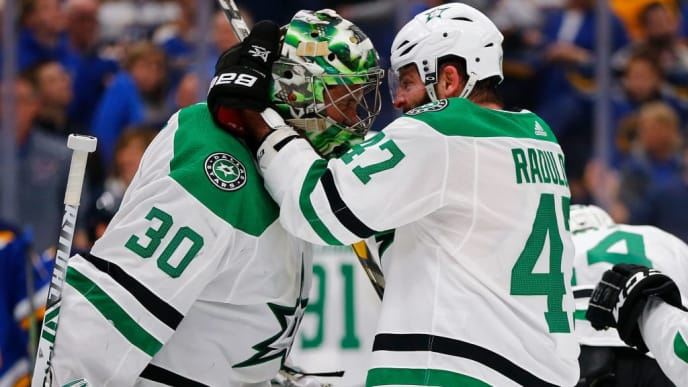 ST. LOUIS, MO - MAY 3: Ben Bishop #30 and Alexander Radulov #47 of the Dallas Stars celebrate after beating the St. Louis Blues in Game Five of the Western Conference Second Round during the 2019 NHL Stanley Cup Playoffs at the Enterprise Center on May 3, 2019 in St. Louis, Missouri. (Photo by Dilip Vishwanat/Getty Images)