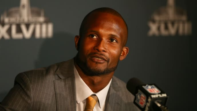 JERSEY CITY, NJ - JANUARY 26:  Champ Bailey of the Denver Broncos addresses the media on January 26, 2014 in Jersey City, New Jersey.  (Photo by Elsa/Getty Images)