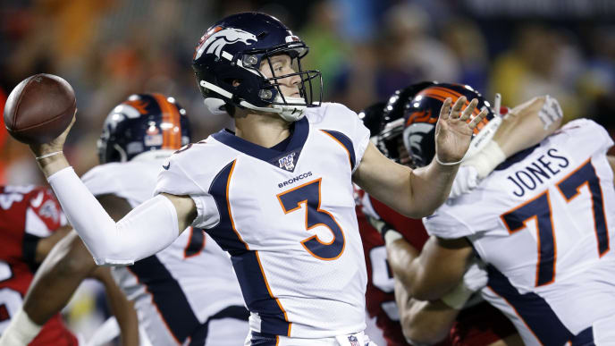 CANTON, OH - AUGUST 01: Drew Lock #3 of the Denver Broncos looks to pass the ball during a preseason game against the Atlanta Falcons at Tom Benson Hall Of Fame Stadium on August 1, 2019 in Canton, Ohio. (Photo by Joe Robbins/Getty Images)