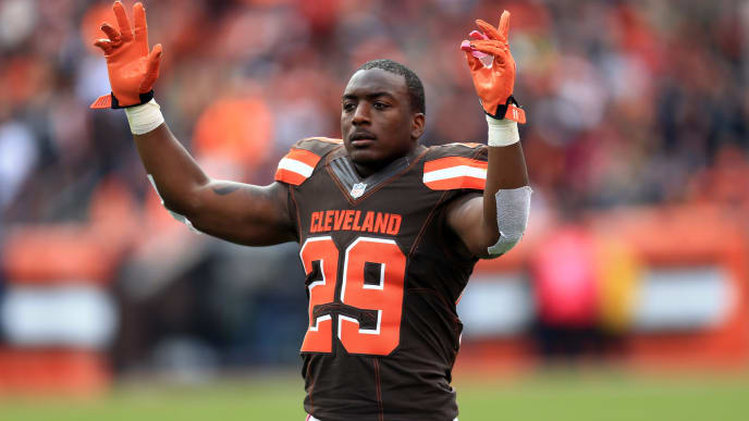 CLEVELAND, OH - OCTOBER 18: Running back Duke Johnson #29 of the Cleveland Browns against the Denver Broncos at Cleveland Browns Stadium on October 18, 2015 in Cleveland, Ohio. Broncos defeated Browns 26-23.  (Photo by Andrew Weber/Getty Images)