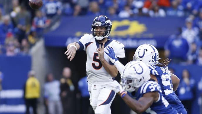 INDIANAPOLIS, INDIANA - OCTOBER 27: Joe Flacco #5 of the Denver Broncos throws a pass in the game against the Indianapolis Colts during the third quarter at Lucas Oil Stadium on October 27, 2019 in Indianapolis, Indiana. (Photo by Justin Casterline/Getty Images)