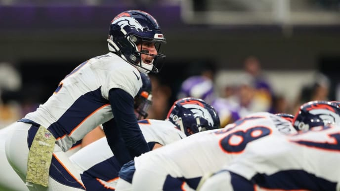 MINNEAPOLIS, MINNESOTA - NOVEMBER 17:  Brandon Allen #2 of the Denver Broncos at U.S. Bank Stadium on November 17, 2019 in Minneapolis, Minnesota. (Photo by Adam Bettcher/Getty Images)