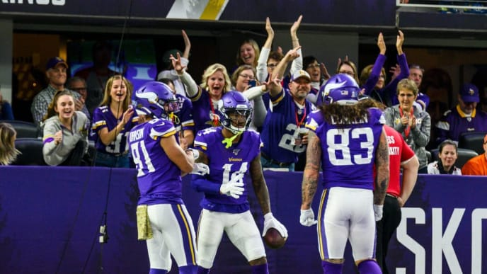 MINNEAPOLIS, MN - NOVEMBER 17: Stefon Diggs #14 of the Minnesota Vikings celebrates after scoring a 54 yard touchdown in the fourth quarter of the game against the Denver Broncos at U.S. Bank Stadium on November 17, 2019 in Minneapolis, Minnesota. (Photo by Stephen Maturen/Getty Images)