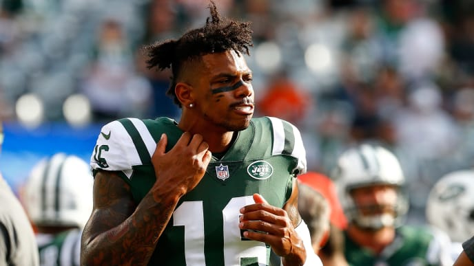 EAST RUTHERFORD, NJ - OCTOBER 07:  Terrelle Pryor #16 of the New York Jets looks on from the bench against the Denver Broncos at MetLife Stadium on October 7, 2018 in East Rutherford, New Jersey. New York Jets defeated the Denver Broncos 34-16.  (Photo by Mike Stobe/Getty Images)