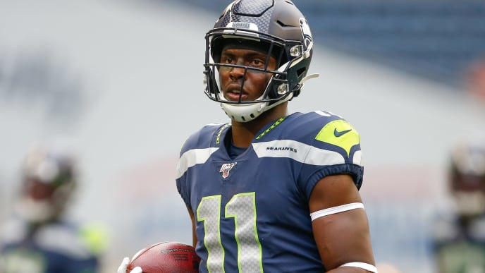 SEATTLE, WA - AUGUST 08: Wide receiver Gary Jennings #11 of the Seattle Seahawks warms up prior to the game against the Denver Broncos at CenturyLink Field on August 8, 2019 in Seattle, Washington. (Photo by Otto Greule Jr/Getty Images)