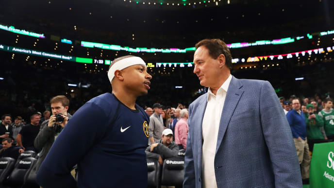 BOSTON, MASSACHUSETTS - MARCH 18: Isaiah Thomas #0 of the Denver Nuggets talks with Celtics co-owner Stephen Pagliuca before the game between the Boston Celtics and the Denver Nuggets at TD Garden on March 18, 2019 in Boston, Massachusetts.  NOTE TO USER: User expressly acknowledges and agrees that, by downloading and or using this photograph, User is consenting to the terms and conditions of the Getty Images License Agreement. (Photo by Maddie Meyer/Getty Images)