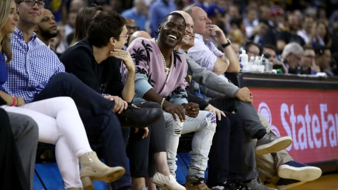 OAKLAND, CALIFORNIA - APRIL 02:  NFL player and a new player for the Oakland Raiders Antonio Brown sits court side during the Golden State Warriors game against the Denver Nuggets at ORACLE Arena on April 02, 2019 in Oakland, California.  NOTE TO USER: User expressly acknowledges and agrees that, by downloading and or using this photograph, User is consenting to the terms and conditions of the Getty Images License Agreement. (Photo by Ezra Shaw/Getty Images)