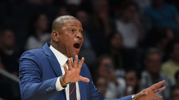 LOS ANGELES, CALIFORNIA - OCTOBER 10:  Head Coach Doc Rivers of the LA Clippers reacts during a 111-91 Denver Nuggets preseason win at Staples Center on October 10, 2019 in Los Angeles, California. (Photo by Harry How/Getty Images)