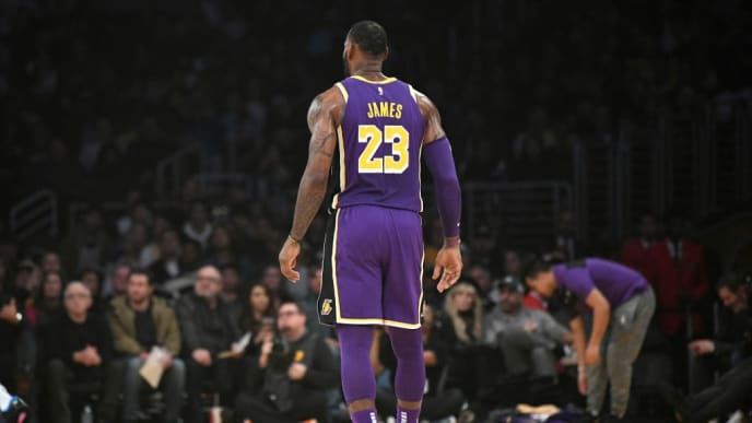 LOS ANGELES, CALIFORNIA - MARCH 06: LeBron James #23 of the Los Angeles Lakers stands on the court during the first quarter against the Denver Nuggets at Staples Center on March 06, 2019 in Los Angeles, California. (Photo by Robert Laberge/Getty Images)