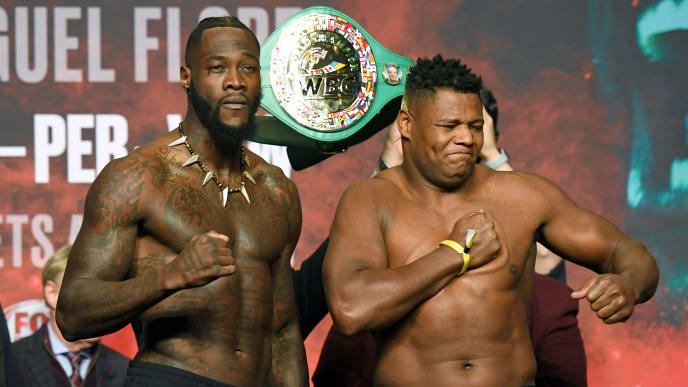 LAS VEGAS, NEVADA - NOVEMBER 22:  WBC heavyweight champion Deontay Wilder (L) and Luis Ortiz pose during their official weigh-in at MGM Grand Garden Arena on November 22, 2019 in Las Vegas, Nevada. Wilder will defend his title against Ortiz in a rematch on November 23 at MGM Grand Garden Arena in Las Vegas.  (Photo by Ethan Miller/Getty Images)