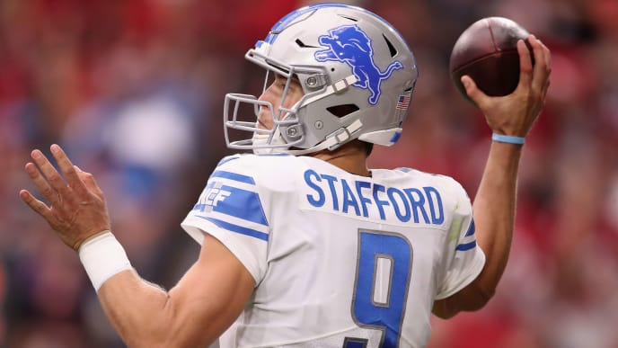 GLENDALE, ARIZONA - SEPTEMBER 08:  Quarterback Matthew Stafford #9 of the Detroit Lions throws a pass during the first half of the NFL game against the Arizona Cardinals at State Farm Stadium on September 08, 2019 in Glendale, Arizona. The Lions and Cardinals tied 27-27. (Photo by Christian Petersen/Getty Images)