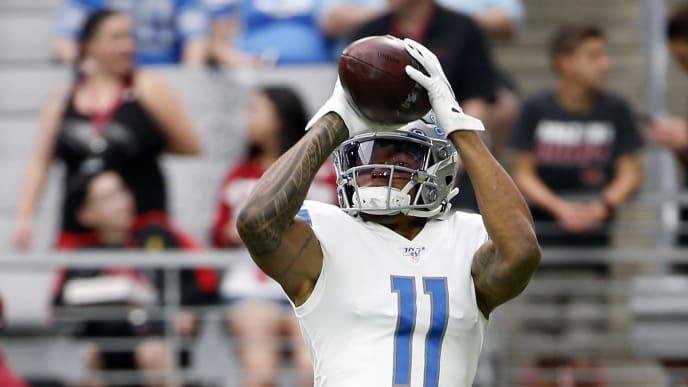 GLENDALE, ARIZONA - SEPTEMBER 08: Marvin Jones Jr #11 of the Detroit Lions catches a pass prior to the NFL football game against the Arizona Cardinals at State Farm Stadium on September 08, 2019 in Glendale, Arizona. (Photo by Ralph Freso/Getty Images)