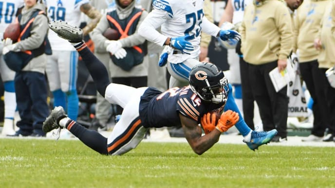CHICAGO, ILLINOIS - NOVEMBER 10: Allen Robinson #12 of the Chicago Bears makes a catch against the Detroit Lions at Soldier Field on November 10, 2019 in Chicago, Illinois. (Photo by David Banks/Getty Images)