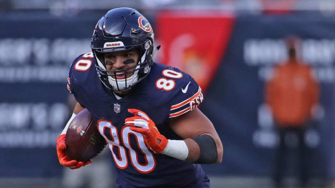 CHICAGO, IL - NOVEMBER 11:  Trey Burton #80 of the Chicago Bears moves after a ctach gainst the Detroit Lions at Soldier Field on November 11, 2018 in Chicago, Illinois. The Bears defeated the Lions 34-22.  (Photo by Jonathan Daniel/Getty Images)
