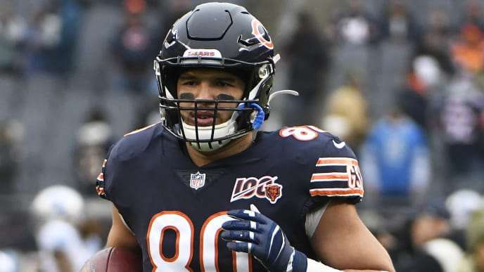 CHICAGO, ILLINOIS - NOVEMBER 10: Trey Burton #80 of the Chicago Bears warms up before the game against the Detroit Lions at Soldier Field on November 10, 2019 in Chicago, Illinois. (Photo by David Banks/Getty Images)