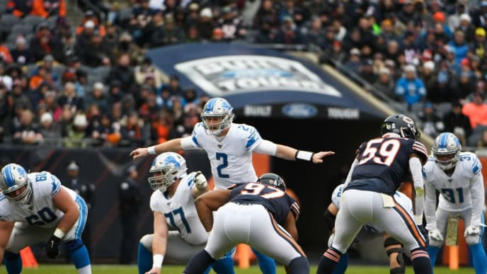 CHICAGO, ILLINOIS - NOVEMBER 10: Jeff Driskel #2 of the Detroit Lions plays against the Chicago Bears at Soldier Field on November 10, 2019 in Chicago, Illinois. (Photo by David Banks/Getty Images)