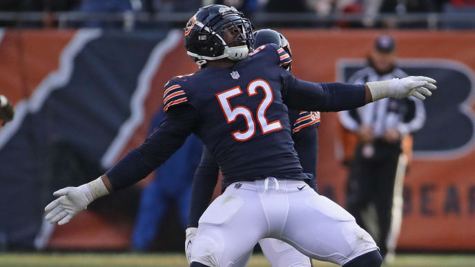 CHICAGO, IL - NOVEMBER 11:  Khalil Mack #52 of the Chicago Bears celebrates a sack against the Detroit Lions at Soldier Field on November 11, 2018 in Chicago, Illinois. The Bears defeated the Lions 34-22. (Photo by Jonathan Daniel/Getty Images)