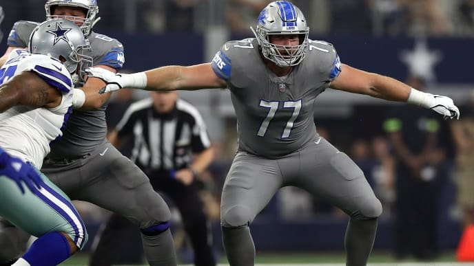 ARLINGTON, TX - SEPTEMBER 30:  Frank Ragnow #77 of the Detroit Lions at AT&T Stadium on September 30, 2018 in Arlington, Texas.  (Photo by Ronald Martinez/Getty Images)