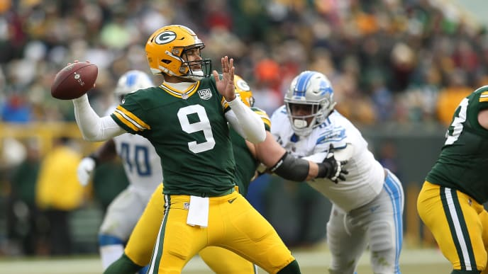 GREEN BAY, WISCONSIN - DECEMBER 30: DeShone Kizer #9 of the Green Bay Packers throws the ball during the second half of a game against the Detroit Lions at Lambeau Field on December 30, 2018 in Green Bay, Wisconsin. (Photo by Dylan Buell/Getty Images)