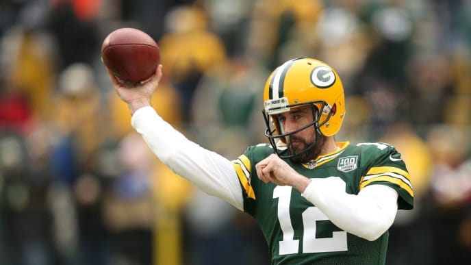 GREEN BAY, WISCONSIN - DECEMBER 30: Aaron Rodgers #12 of the Green Bay Packers warms up before a game against the Detroit Lions at Lambeau Field on December 30, 2018 in Green Bay, Wisconsin. (Photo by Dylan Buell/Getty Images)