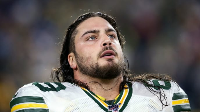 GREEN BAY, WISCONSIN - OCTOBER 14:  David Bakhtiari #69 of the Green Bay Packers looks on before the game against the Detroit Lions at Lambeau Field on October 14, 2019 in Green Bay, Wisconsin. (Photo by Dylan Buell/Getty Images)