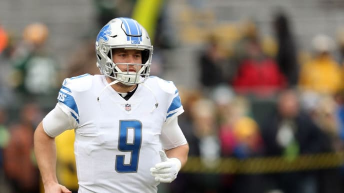 GREEN BAY, WISCONSIN - DECEMBER 30: Matthew Stafford #9 of the Detroit Lions warms up before a game against the Green Bay Packers at Lambeau Field on December 30, 2018 in Green Bay, Wisconsin. (Photo by Dylan Buell/Getty Images)
