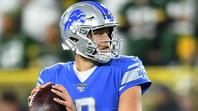 GREEN BAY, WISCONSIN - OCTOBER 14:  Matthew Stafford #9 of the Detroit Lions participates in warmups prior to a game against the Green Bay Packers at Lambeau Field on October 14, 2019 in Green Bay, Wisconsin. (Photo by Stacy Revere/Getty Images)
